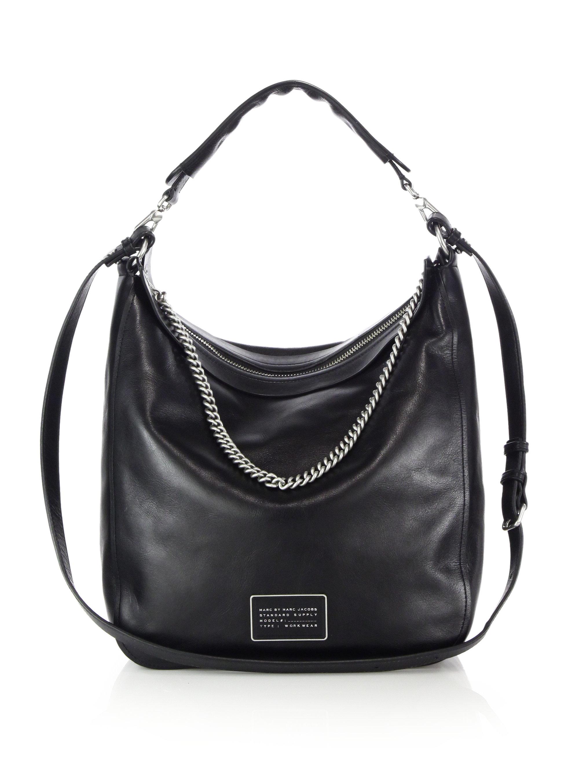 a19f00b49e0f Lyst - Marc By Marc Jacobs Top Of The Chain Leather Hobo Bag in Black