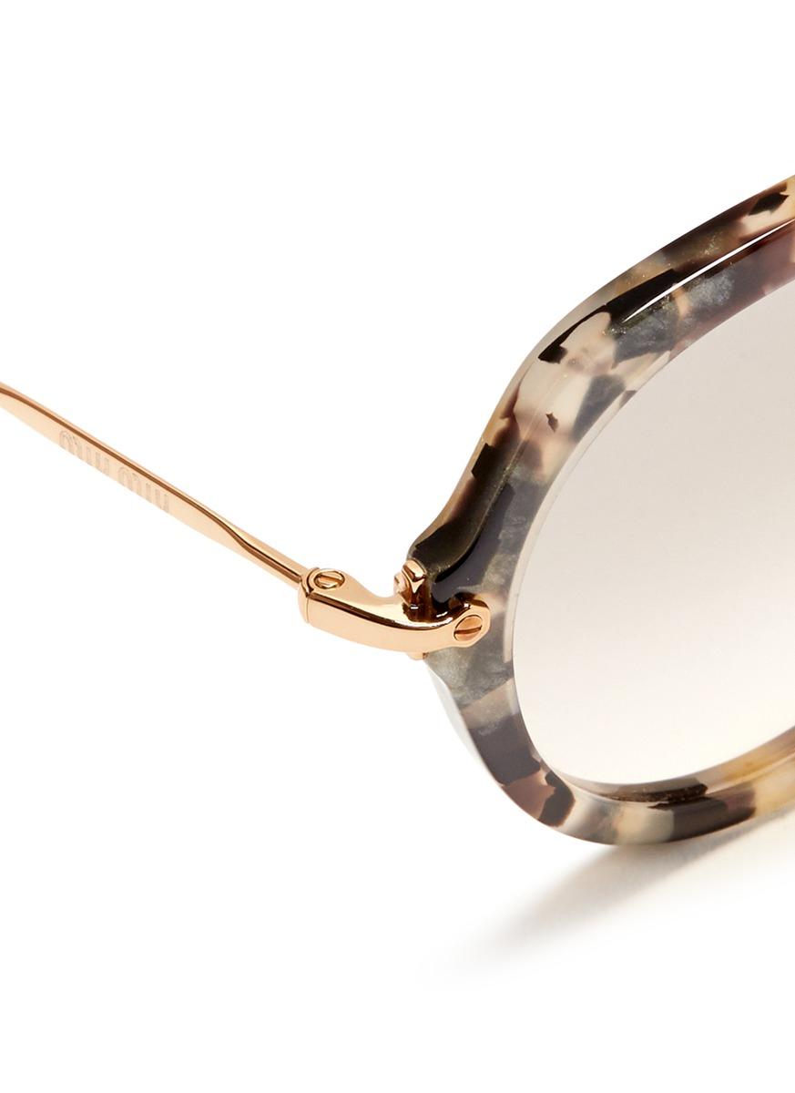 85f9ea5b6cef Lyst - Miu Miu Metal Temple Round Tortoiseshell Frame Sunglasses
