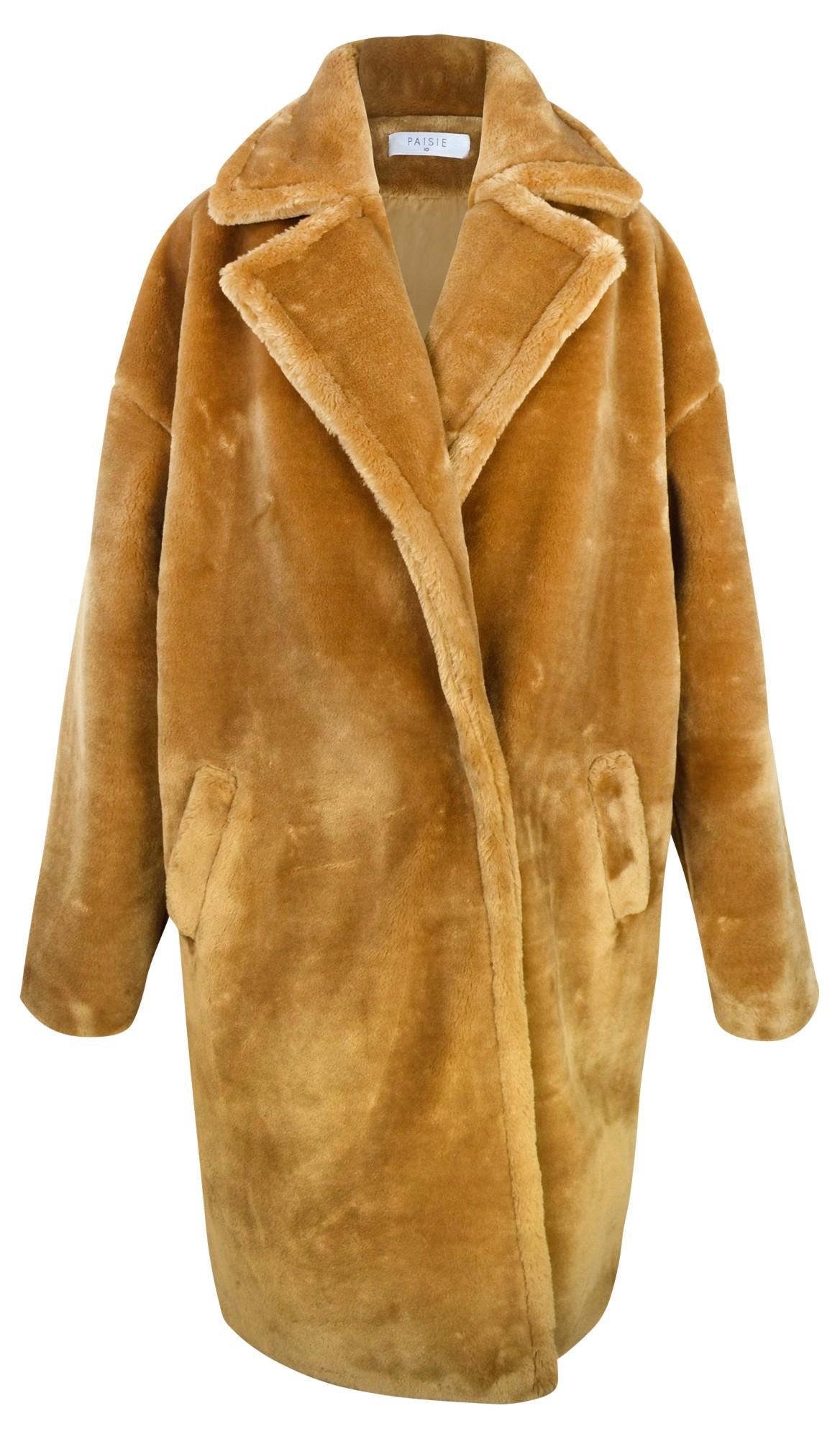 Paisie Faux Fur Teddy Coat in Brown | Lyst