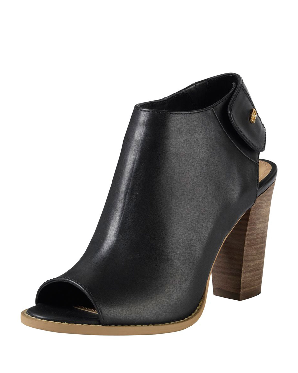 Black Leather Bootie Shoes