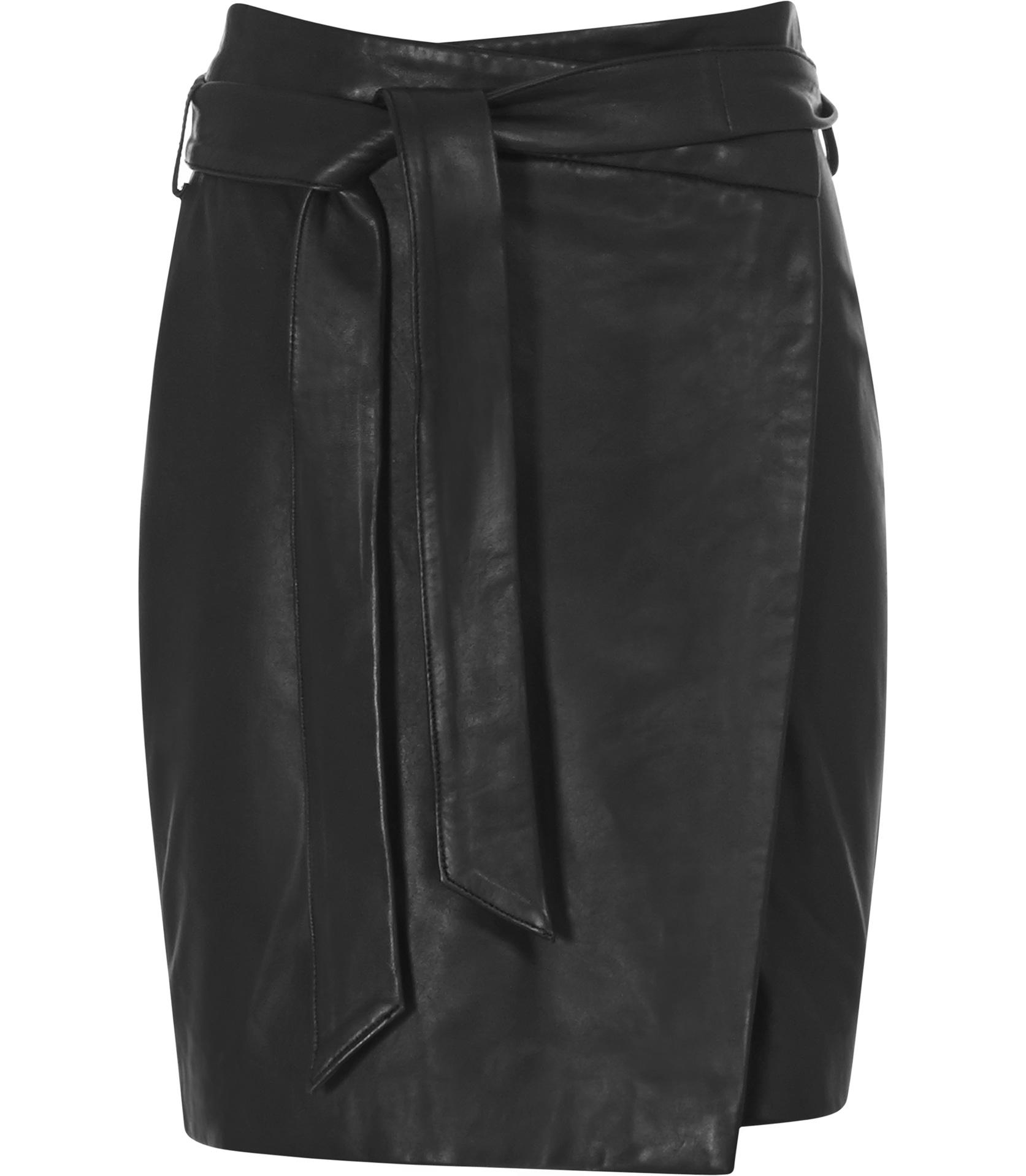 Reiss Merron Leather Wrap Skirt in Black | Lyst