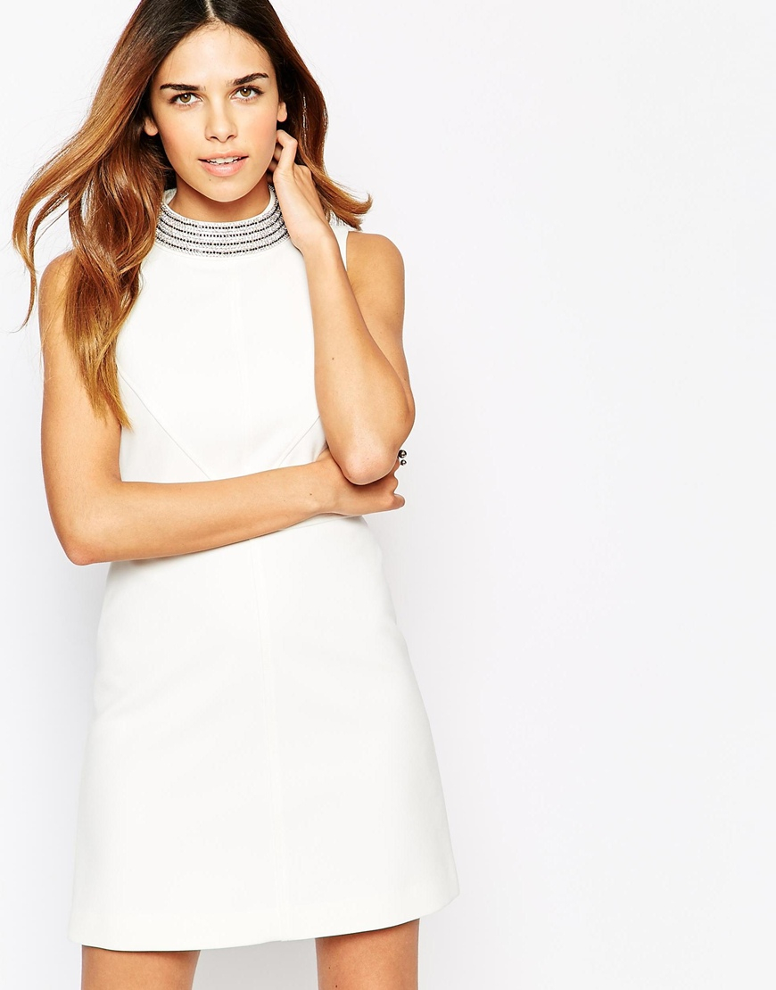 eb19e0cbf08 Warehouse Embellished Neck 60 s Dress in White - Lyst