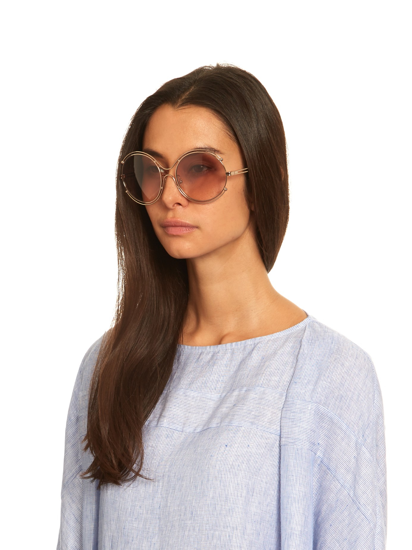 cfd69157bb58 Lyst - Chloé Isidora Round-framed Sunglasses in Pink