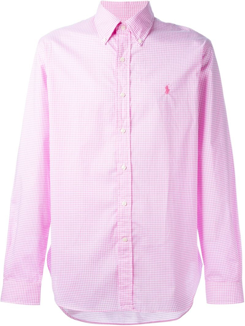 Polo ralph lauren gingham check shirt in pink for men lyst for Pink and white ralph lauren shirt