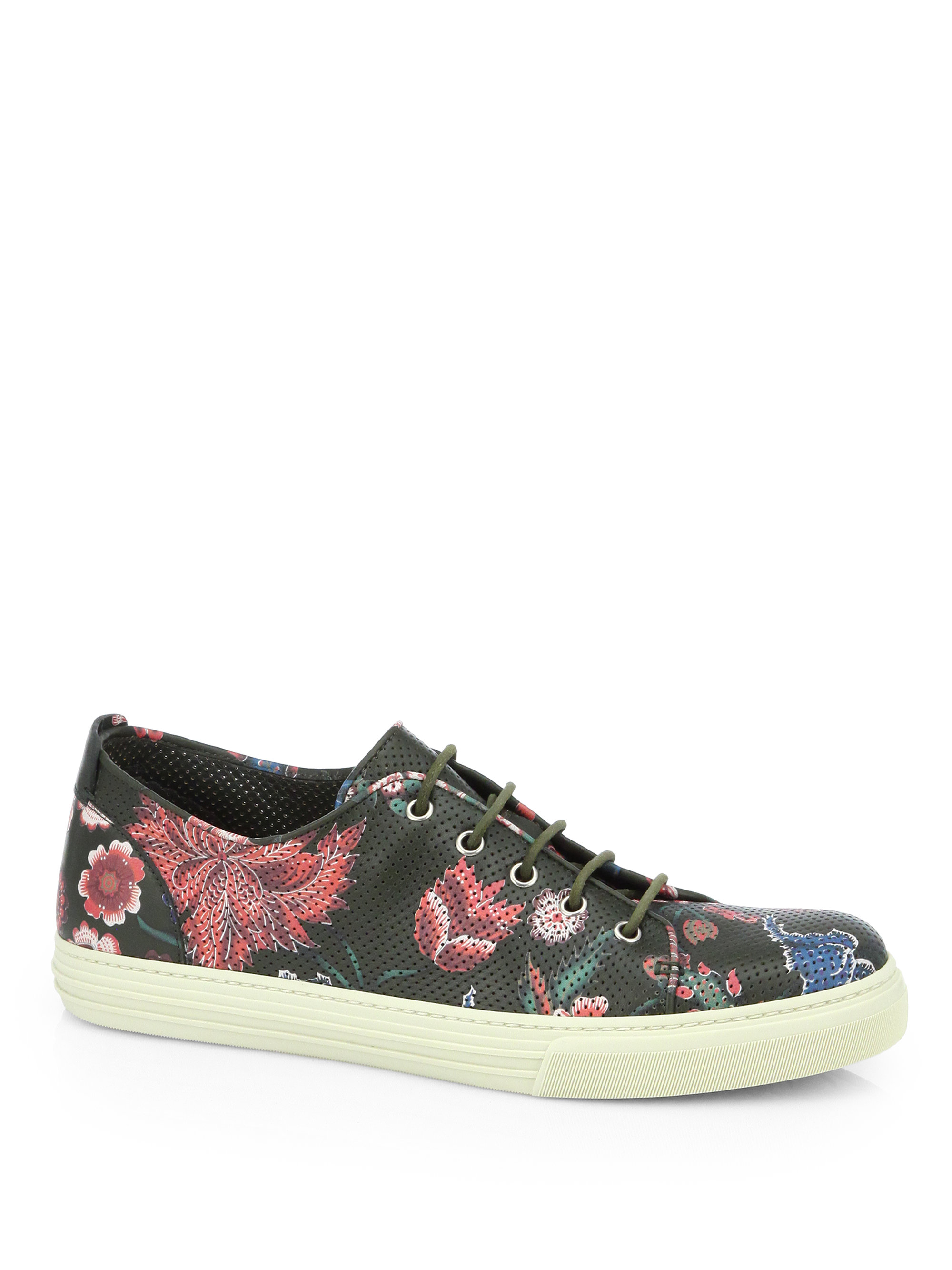 Gucci Flower Print Leather Lowtop Sneakers In Green Lyst