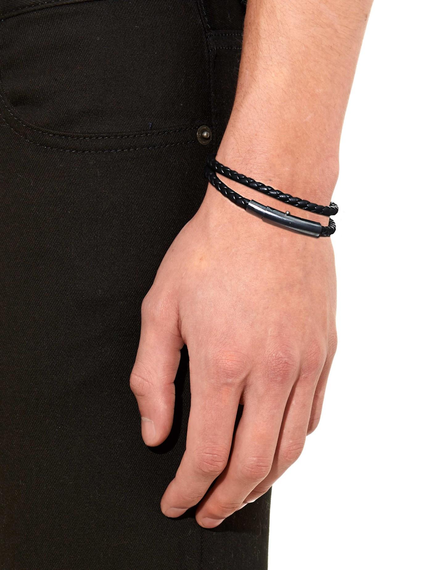 e5abdefe7d5d40 Bottega Veneta Intrecciato Leather Double-wrap Bracelet in Black for ...