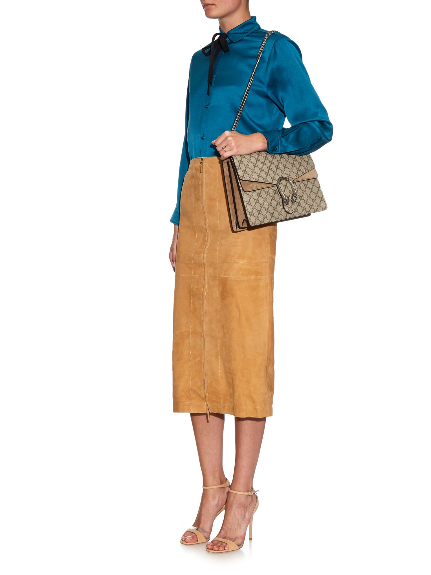 b870a470ce93 Gucci Dionysus Gg Supreme Canvas Shoulder Bag in Natural - Lyst