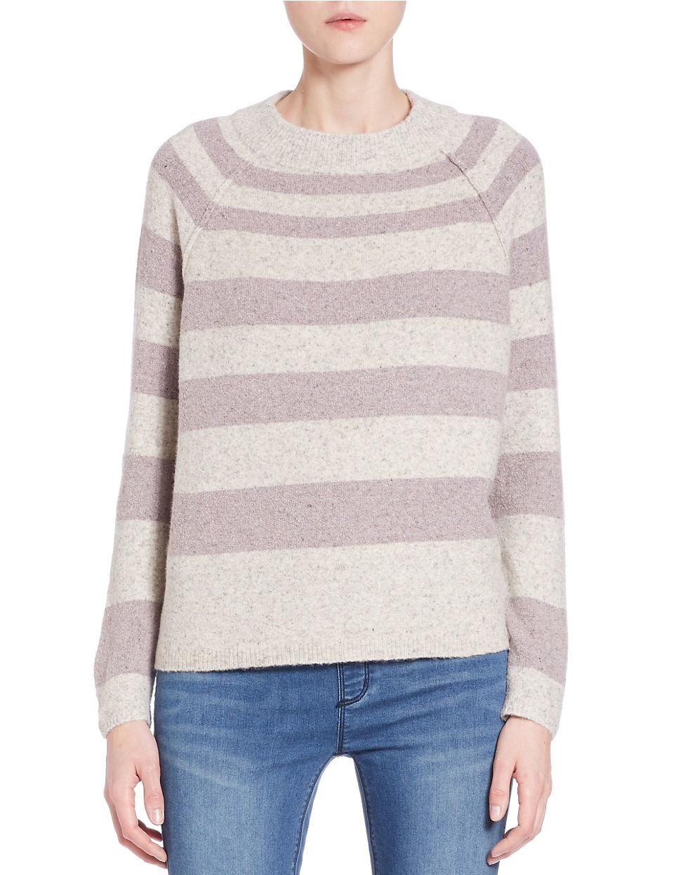 Free People Striped Knit Sweater In White Lyst