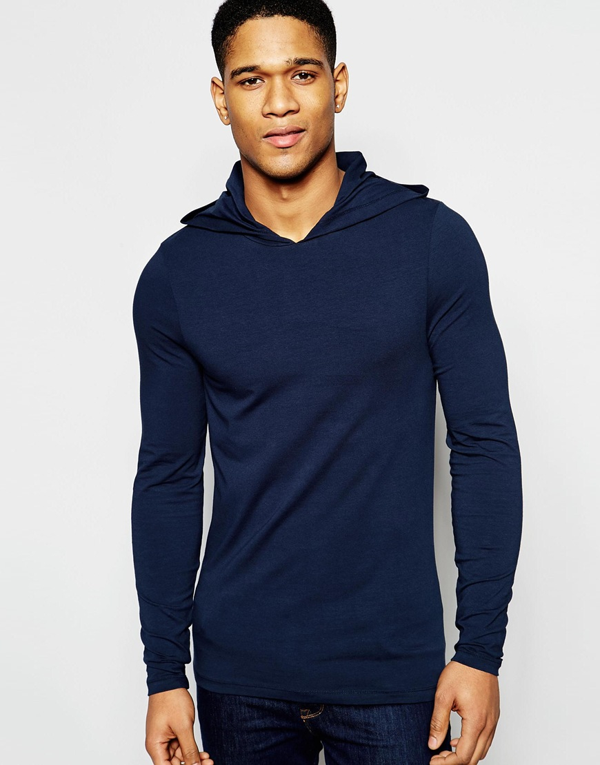 Asos Extreme Muscle Long Sleeve T-shirt With Hood In Navy in Blue ...