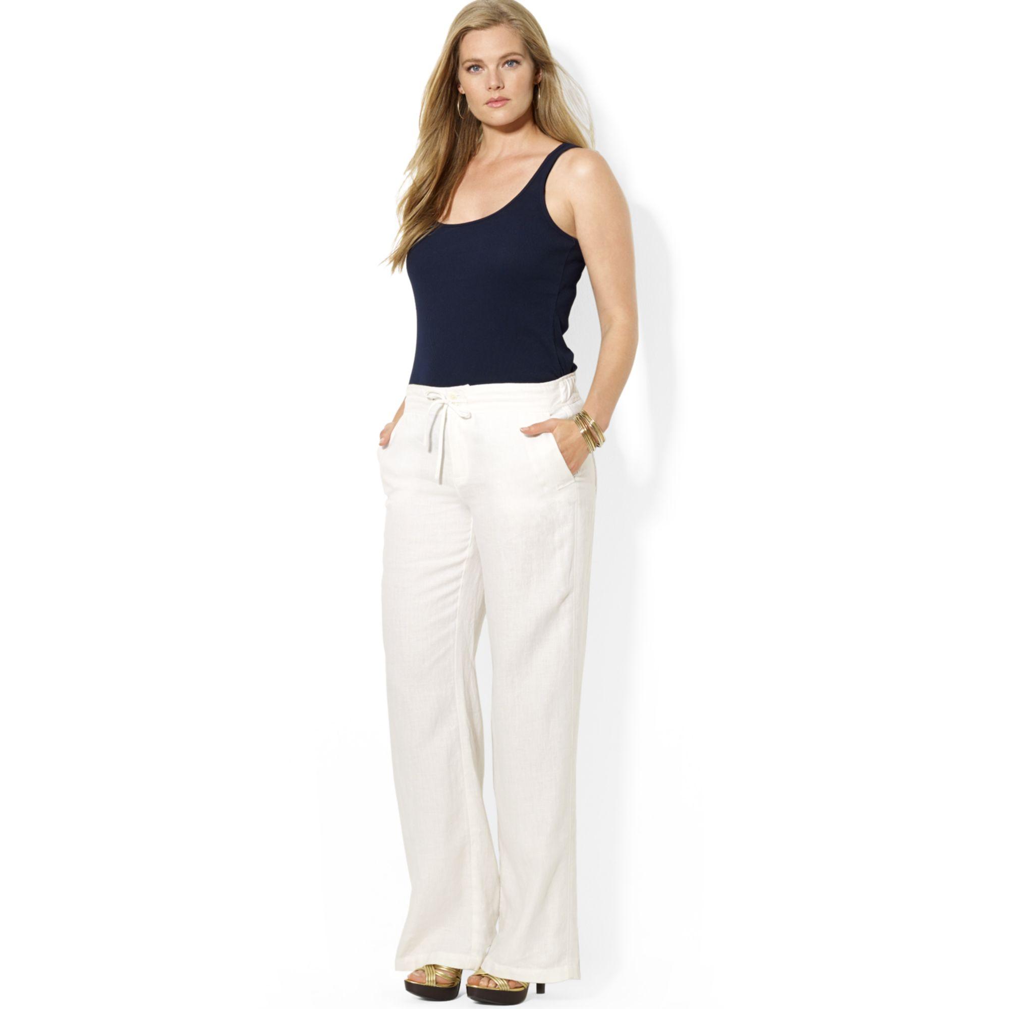 19d7839b7b758 Lyst - Lauren by Ralph Lauren Plus Size Wideleg Linen Pants in White