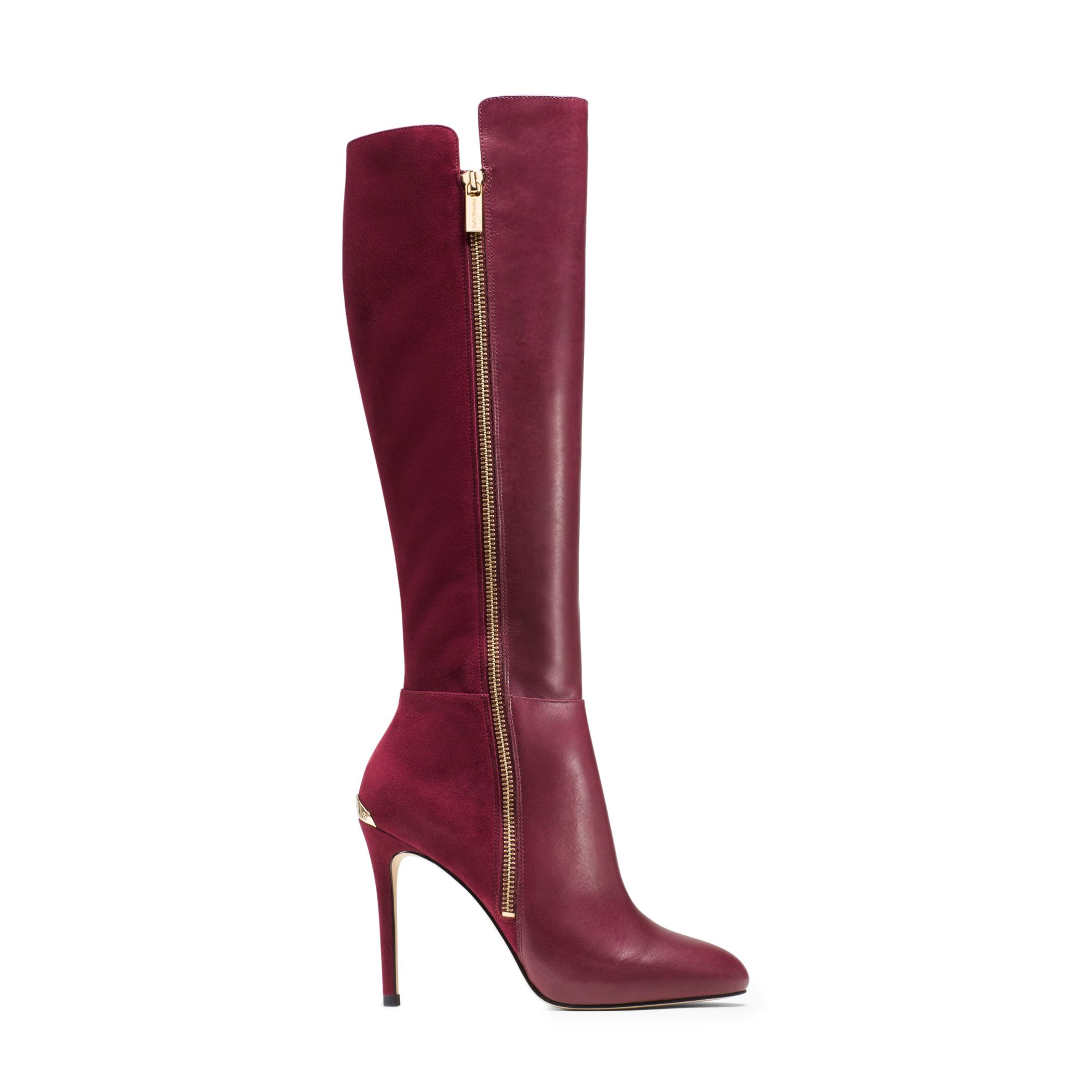 Michael kors clara leather and suede boot in purple lyst
