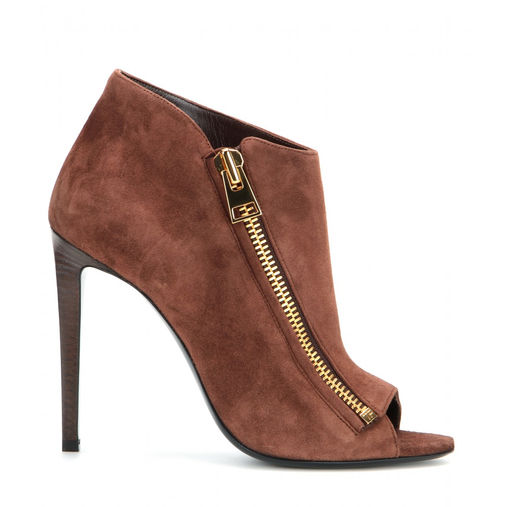 tom ford open toe suede ankle boots in brown lyst