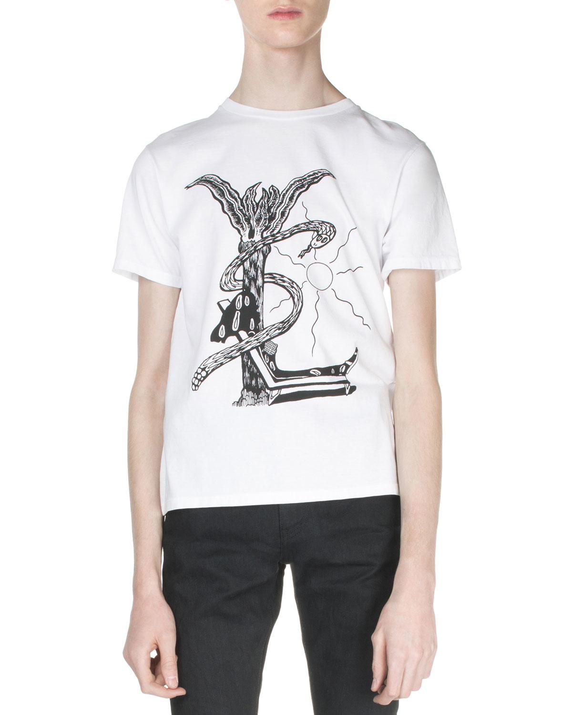 saint laurent malibu logo graphic tee in white for men lyst. Black Bedroom Furniture Sets. Home Design Ideas
