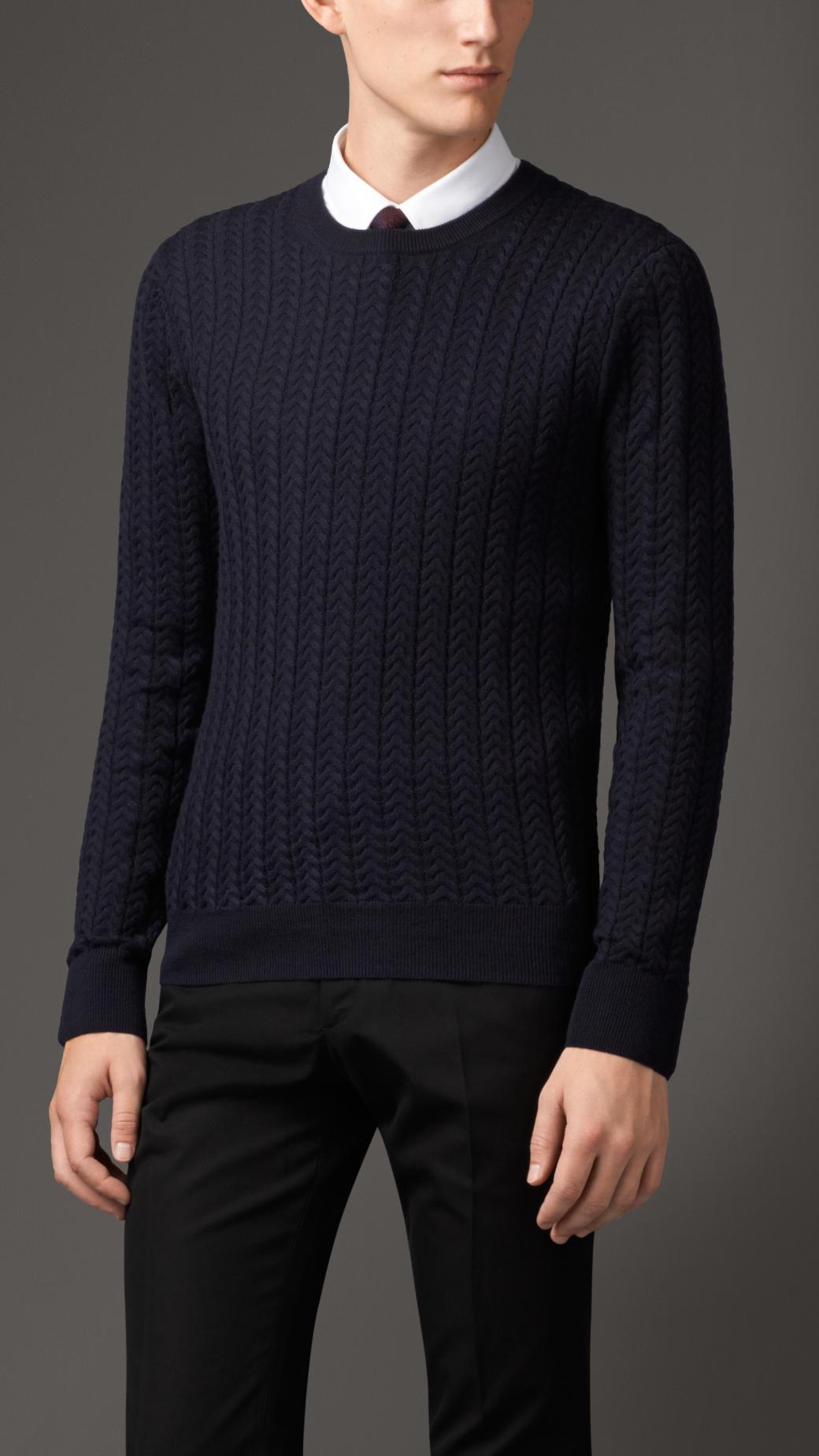 Wool Sweater Grey: Burberry Aran Knit Wool Cashmere Sweater In Blue For Men