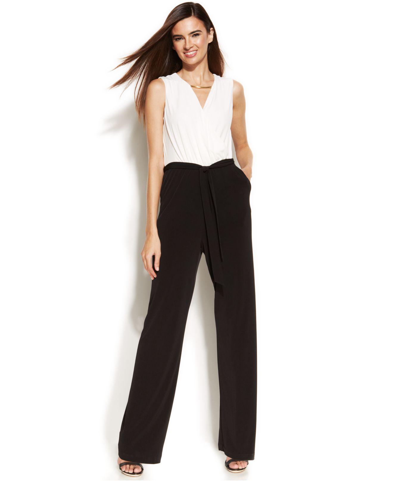Lyst Calvin Klein Wide Leg Two Tone Jumpsuit In Black