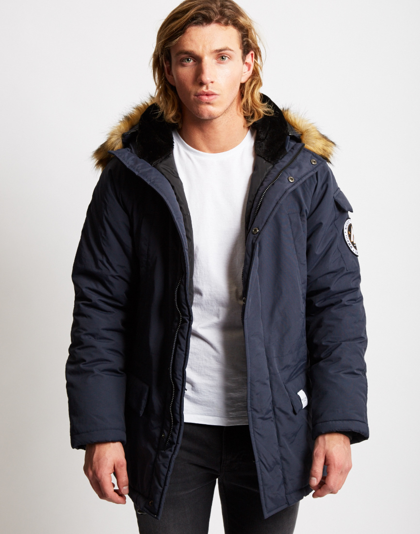 Nicce london Grand Parka Coat Blue in Blue for Men | Lyst