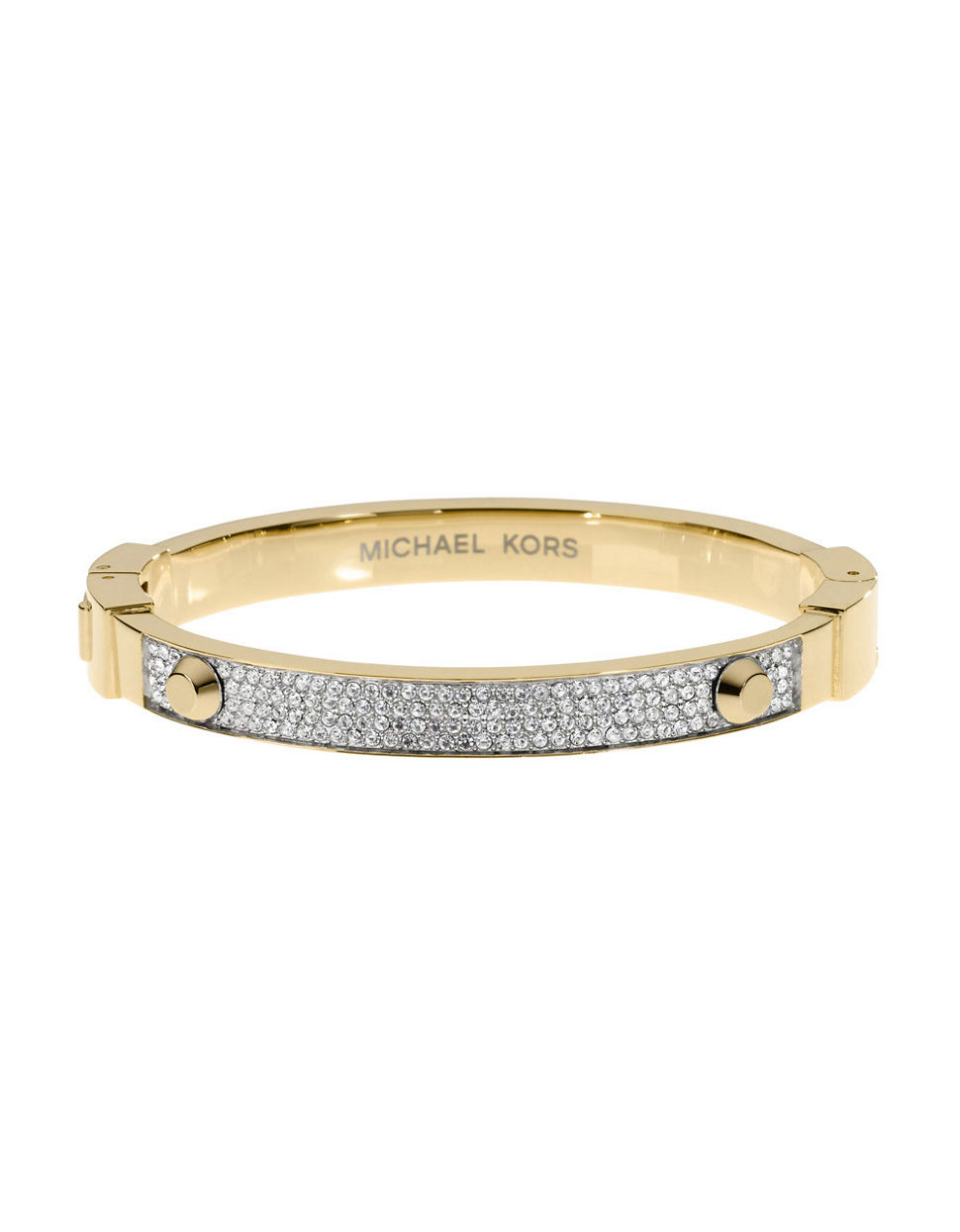 michael kors gold tone astor hinger bracelet in gold lyst. Black Bedroom Furniture Sets. Home Design Ideas