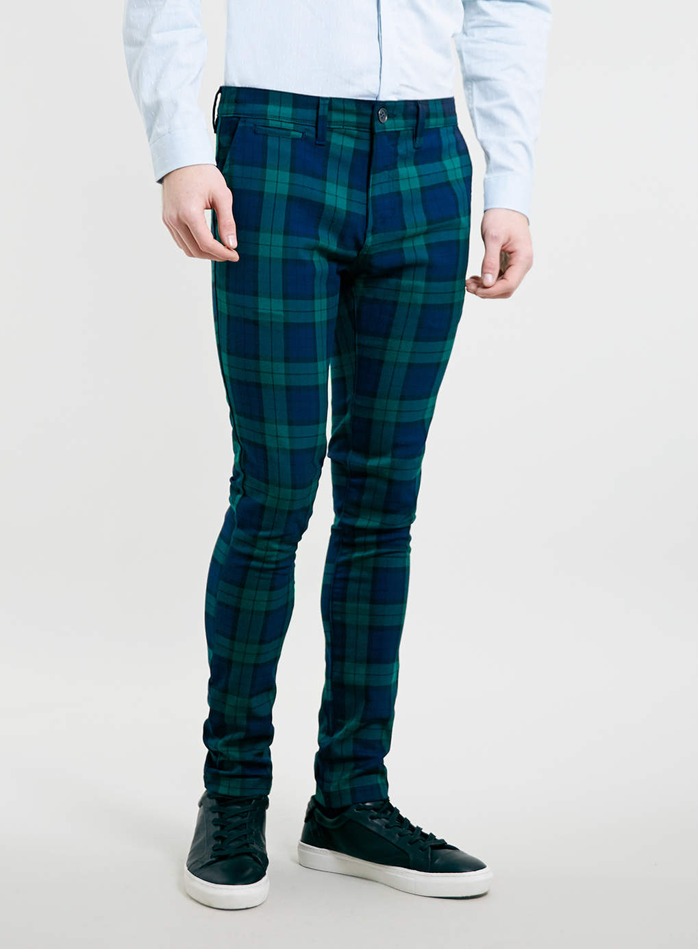 Topman Green Tartan Skinny Chino Pants In Green For Men Lyst