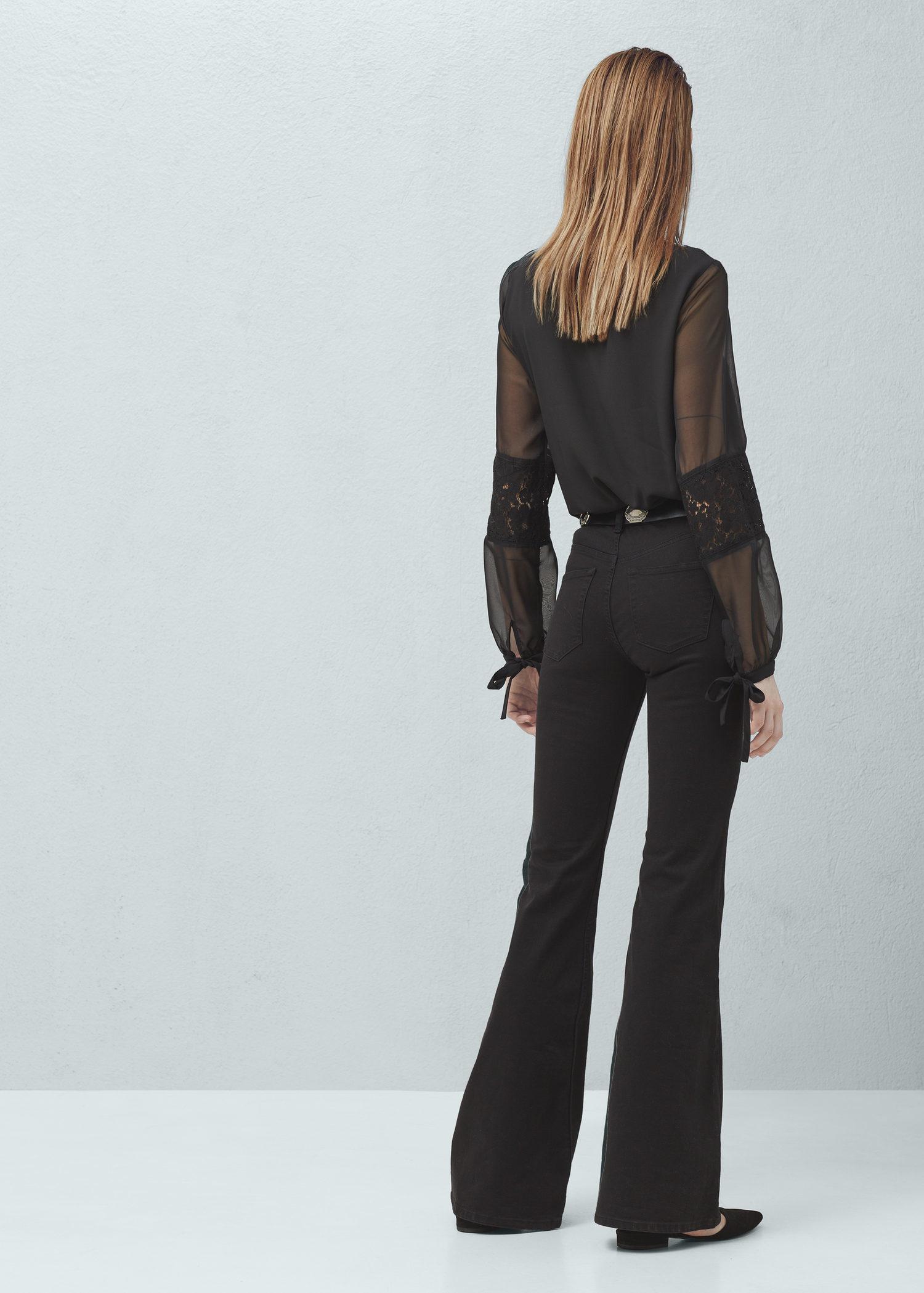 Mango High Waist Flare Jeans in Black | Lyst