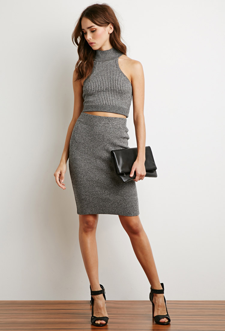 Forever 21 Marled Rib Knit Pencil Skirt in Gray | Lyst