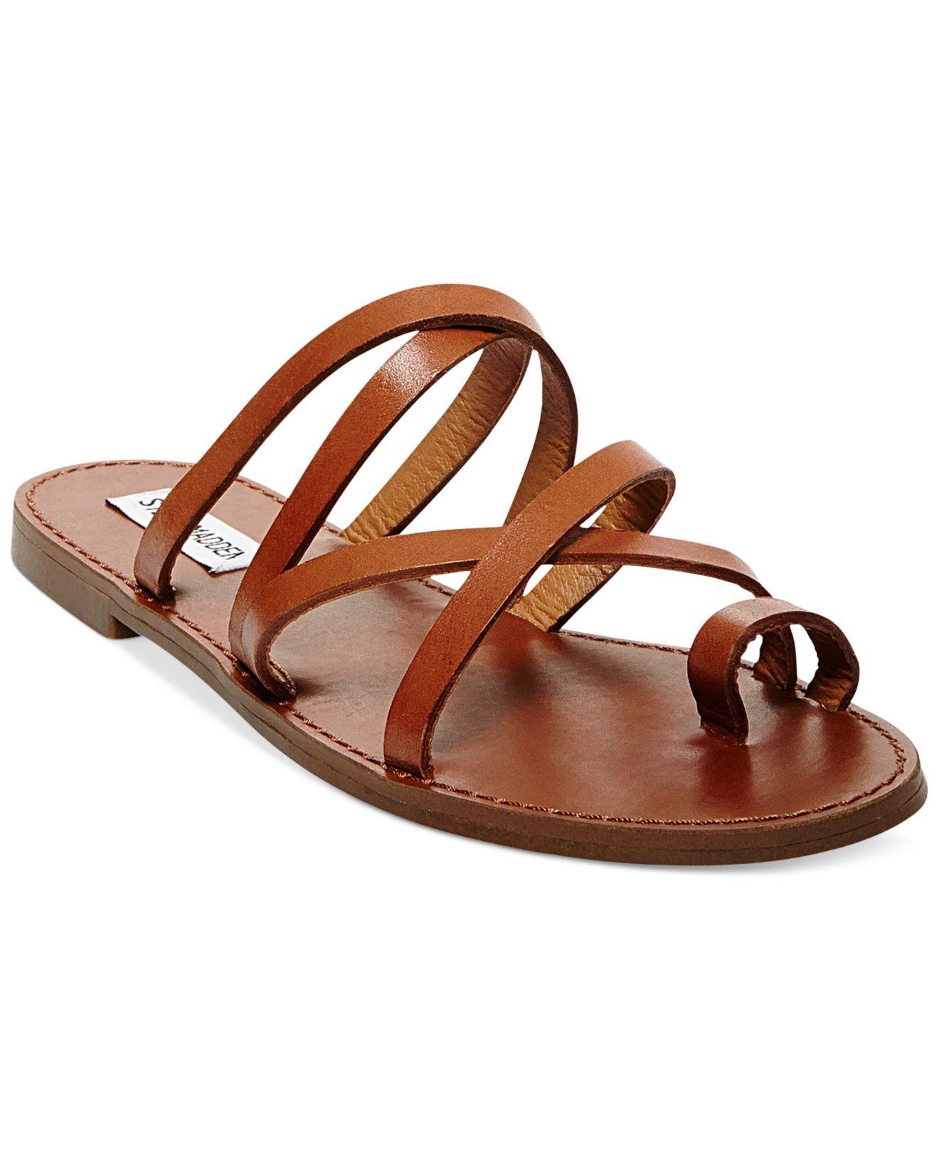 75093e990 Lyst - Steve Madden Antler Flat Toe Ring Slide Sandals in Brown