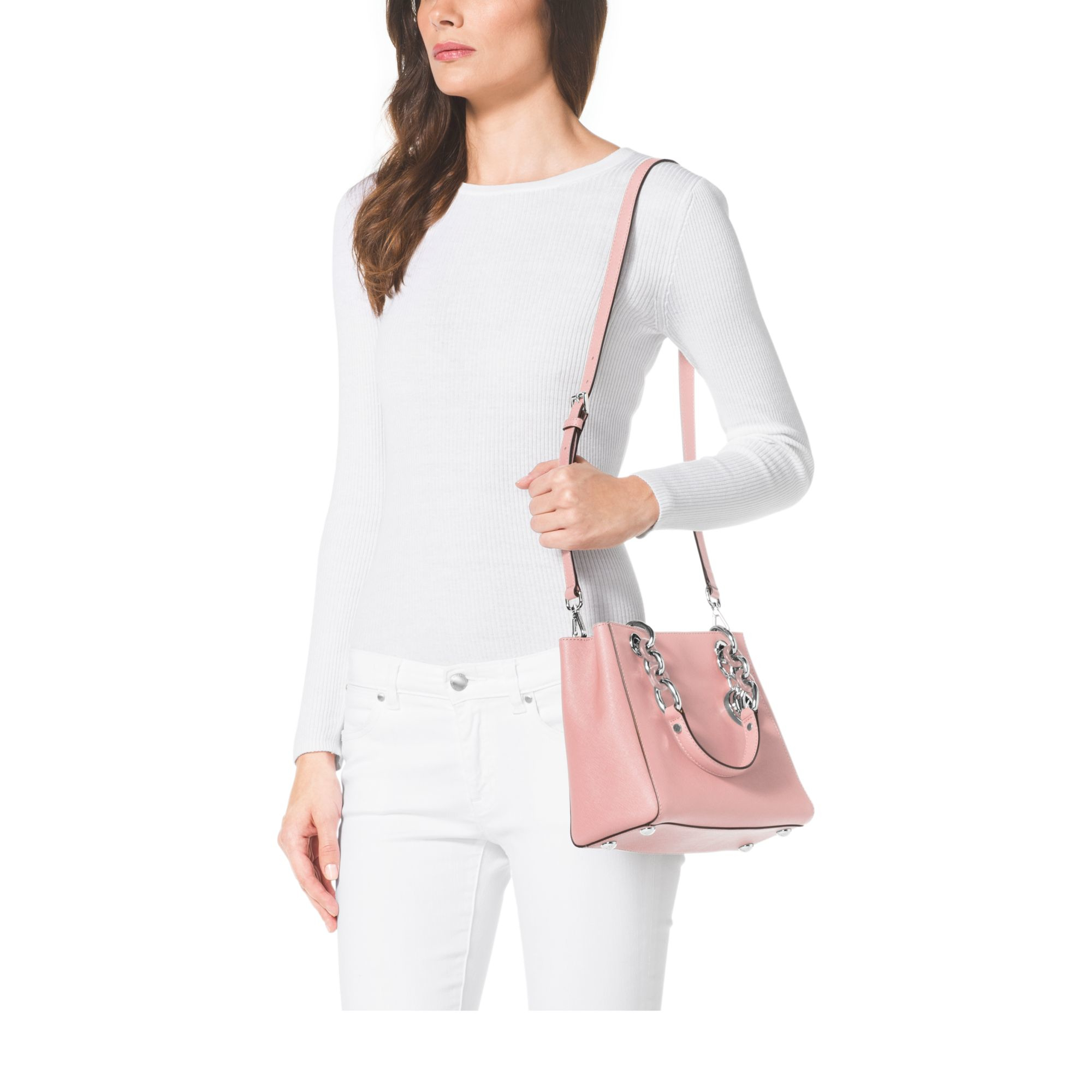 michael kors cynthia small saffiano leather satchel in pink lyst. Black Bedroom Furniture Sets. Home Design Ideas