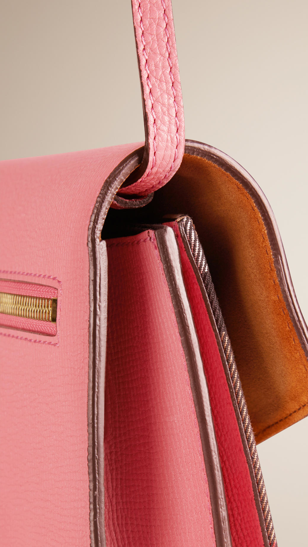 b14768249632 Lyst - Burberry Small House Check and Leather Cross-Body Bag in Pink