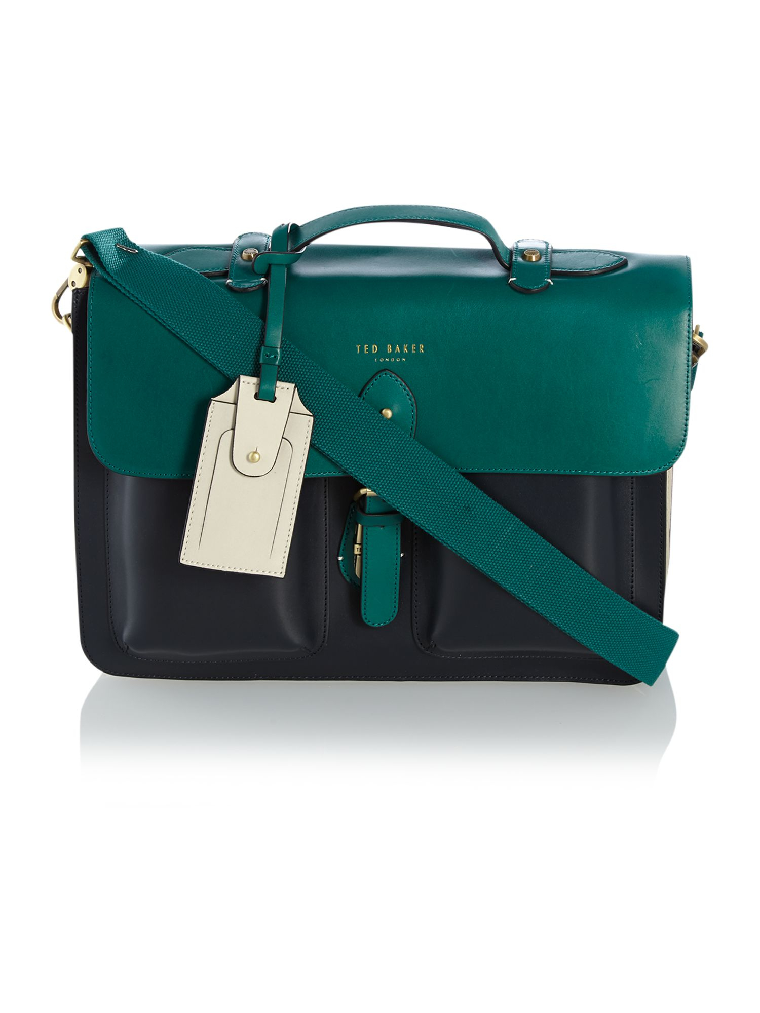 Ted baker Colour Block Leather Satchel Bag in Green for Men | Lyst