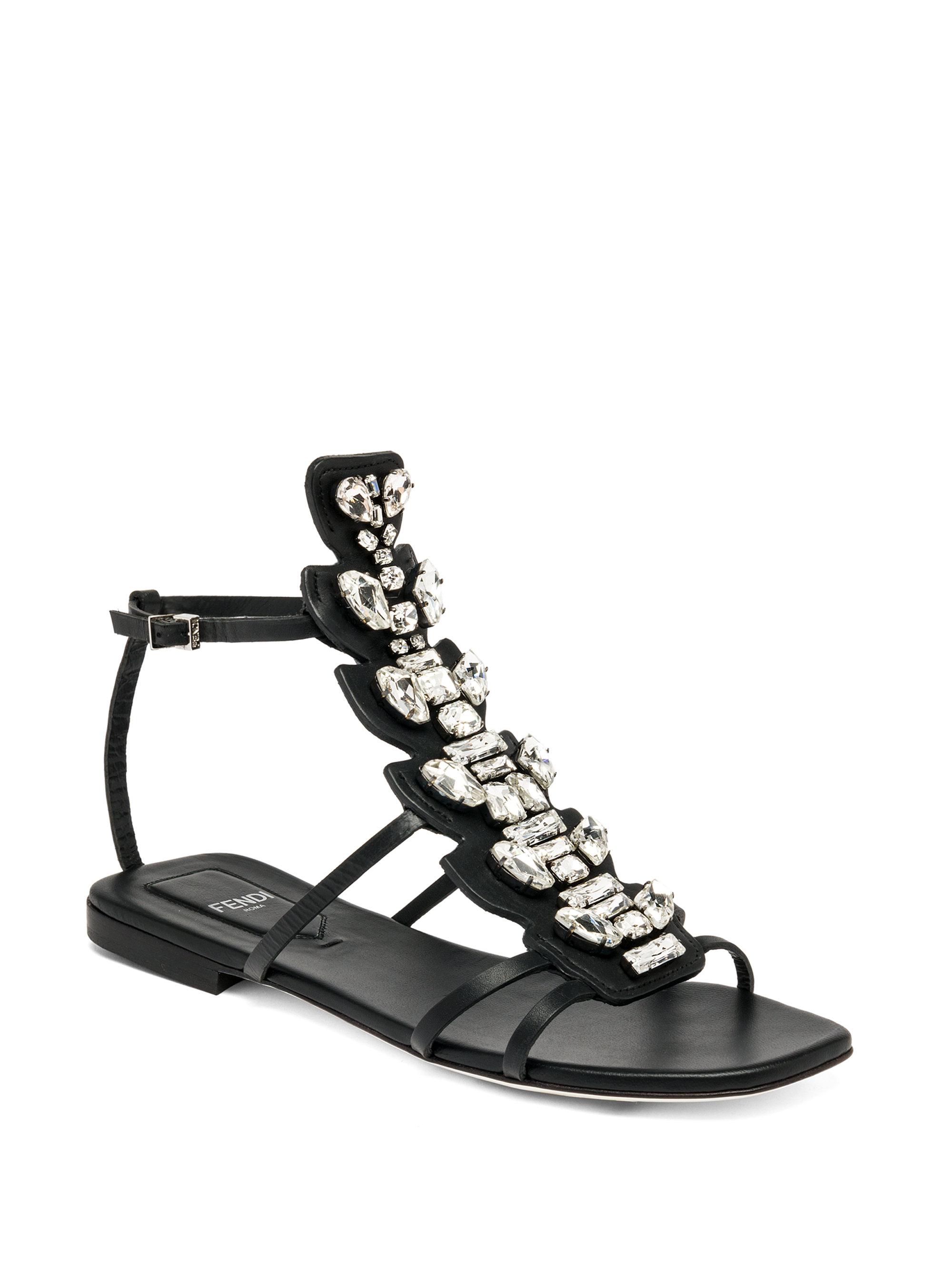 c1480c5df3b5 Lyst - Fendi Ava Crocodile   Leather Flat Sandals in Black