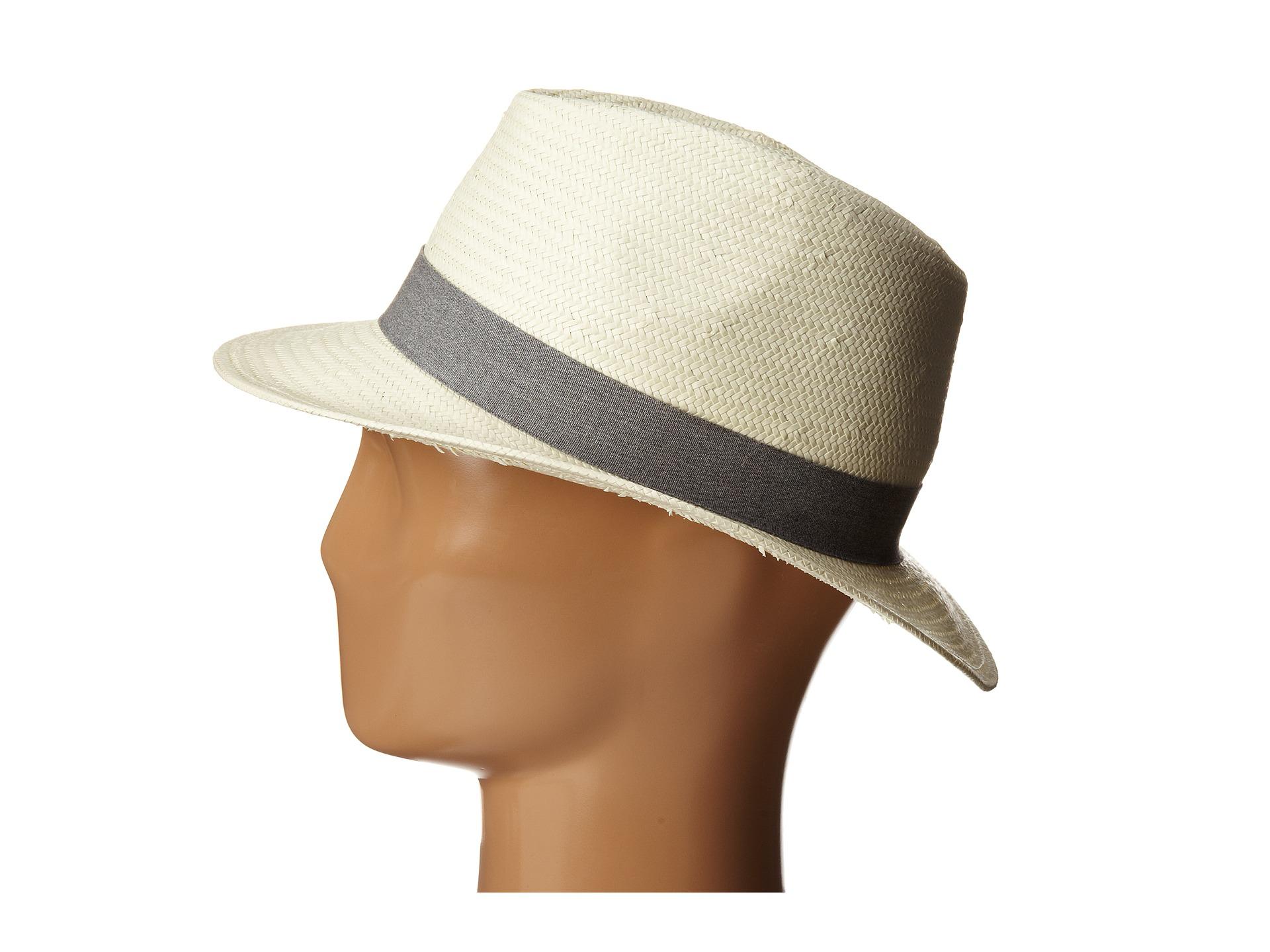 lacoste straw fedora hat in metallic lyst