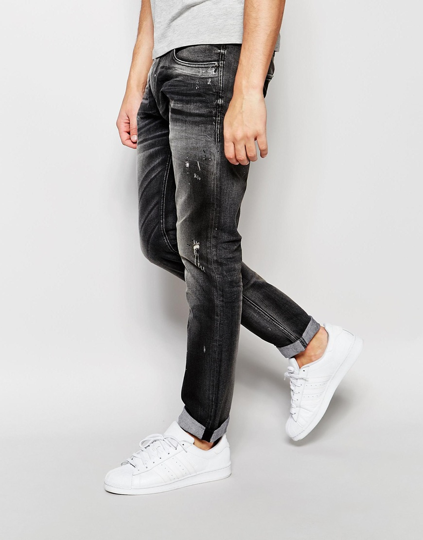 6eec6417 Jack & Jones Slim Fit Jeans With Rips in Gray for Men - Lyst