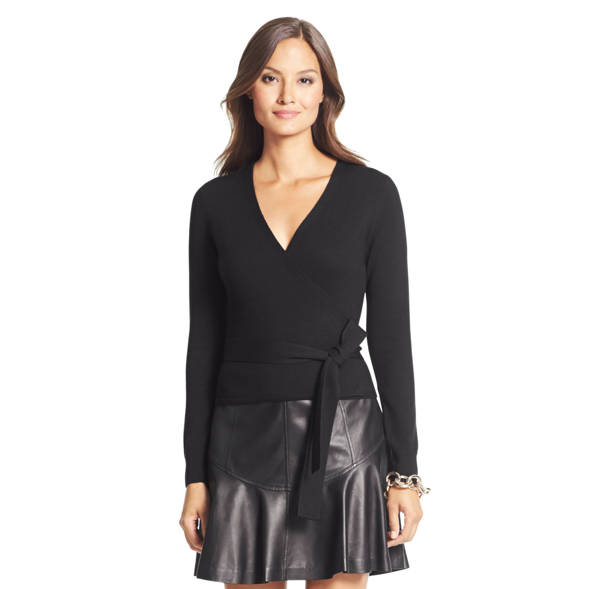 Diane von furstenberg Ballerina Wool Wrap Sweater in Black | Lyst