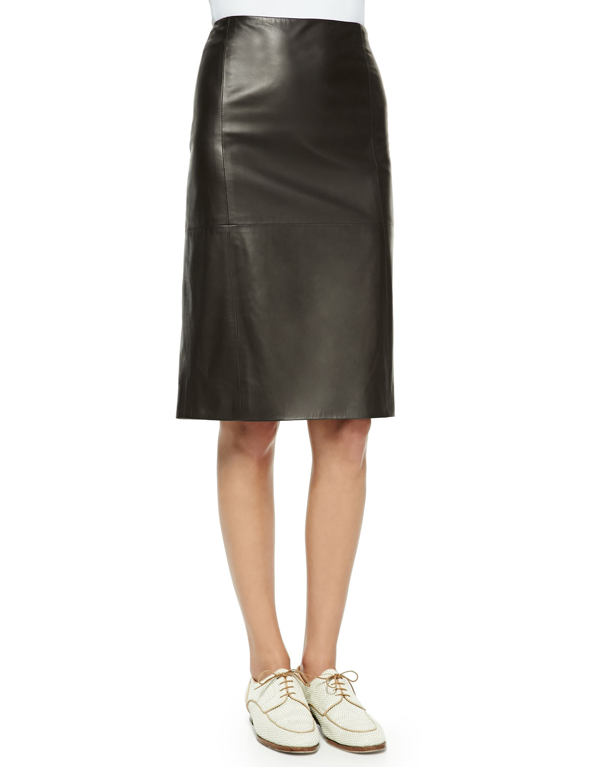 the row high waist leather skirt in black lyst