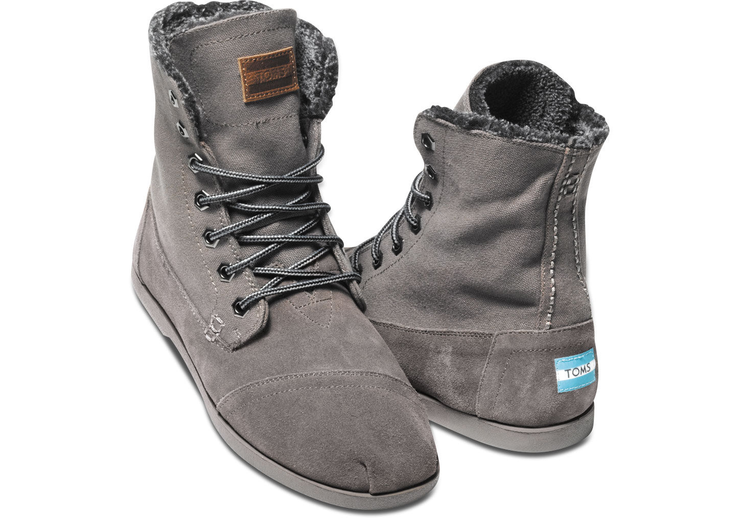 toms canvas suede mens utility boots in gray for ash