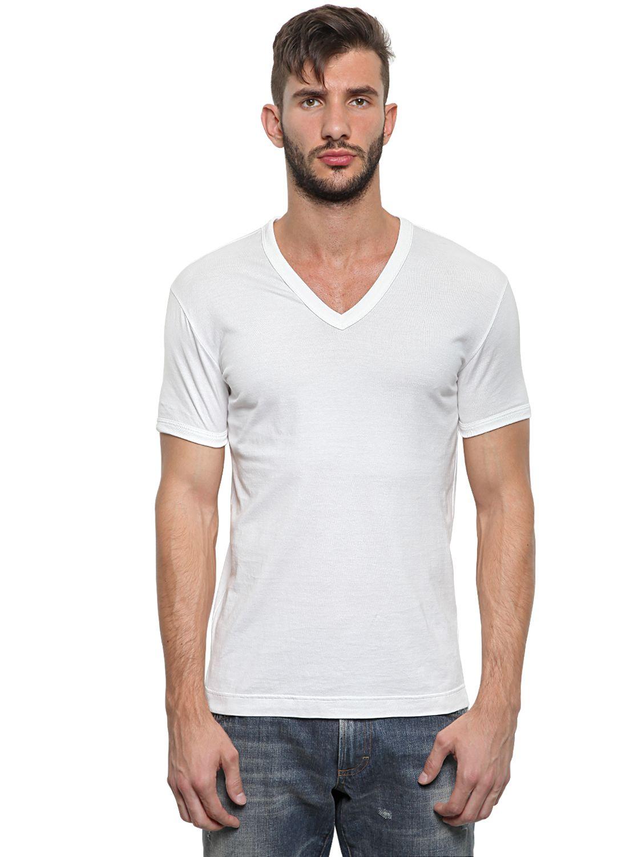lyst dolce gabbana cotton jersey v neck t shirt in white for men. Black Bedroom Furniture Sets. Home Design Ideas