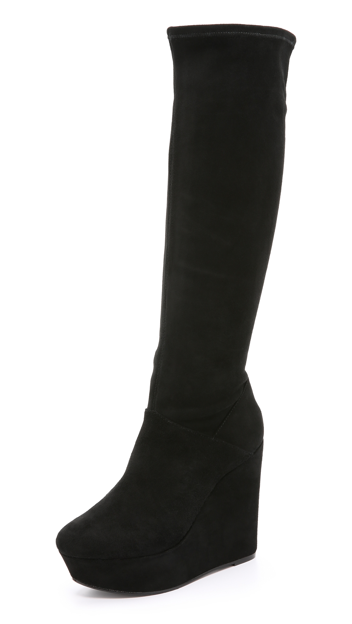 Alice   olivia Yula Suede Wedge Tall Boots in Black | Lyst