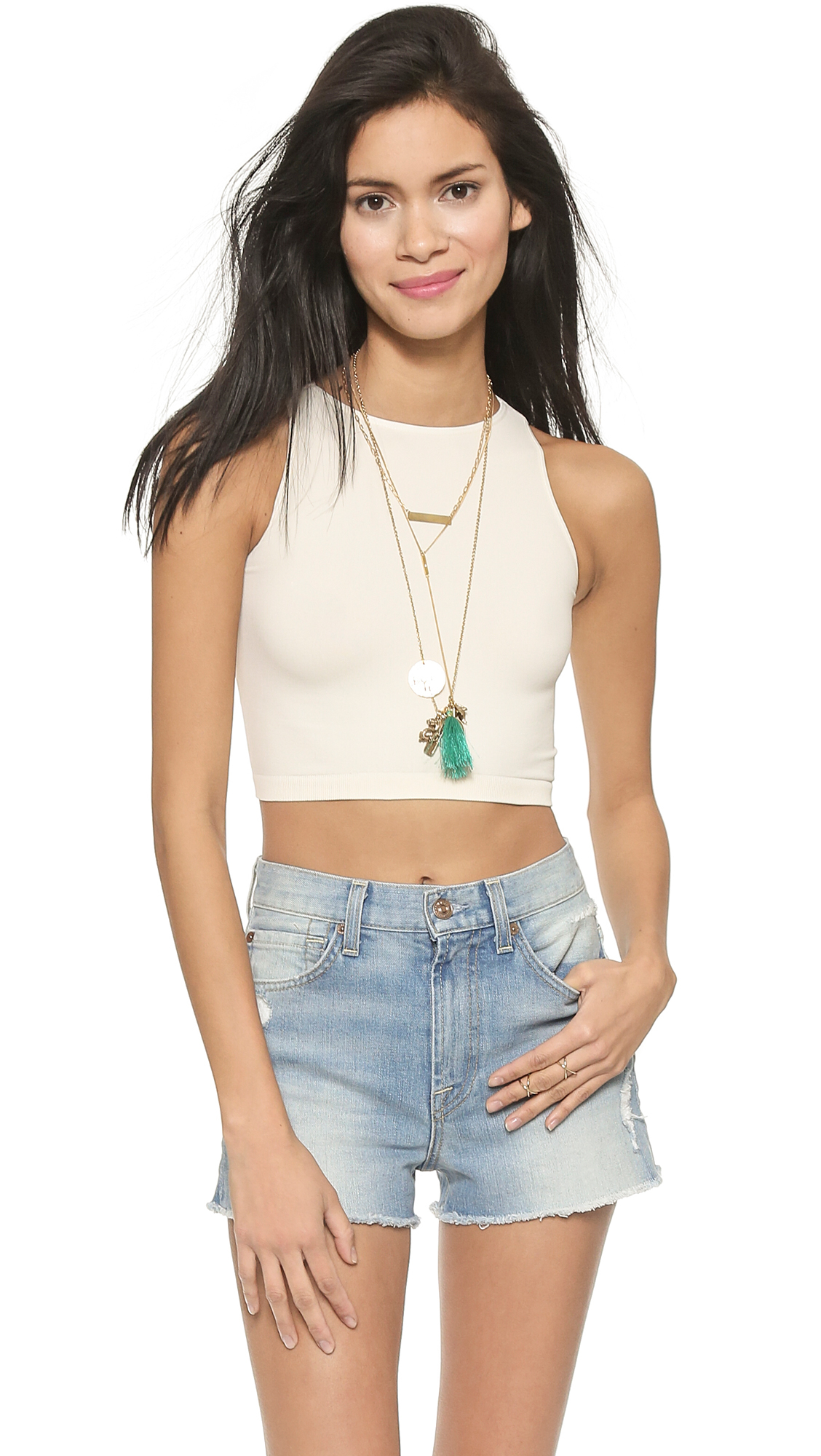Free People High Neck Crop Seamless Cami In White Lyst