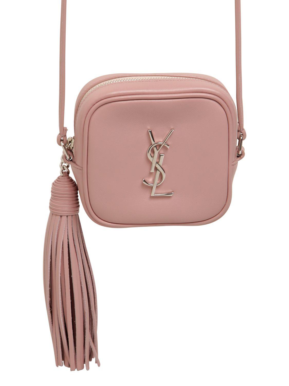 9943ad37f5f Saint Laurent Monogram Leather Shoulder Bag W/ Tassel in Pink - Lyst