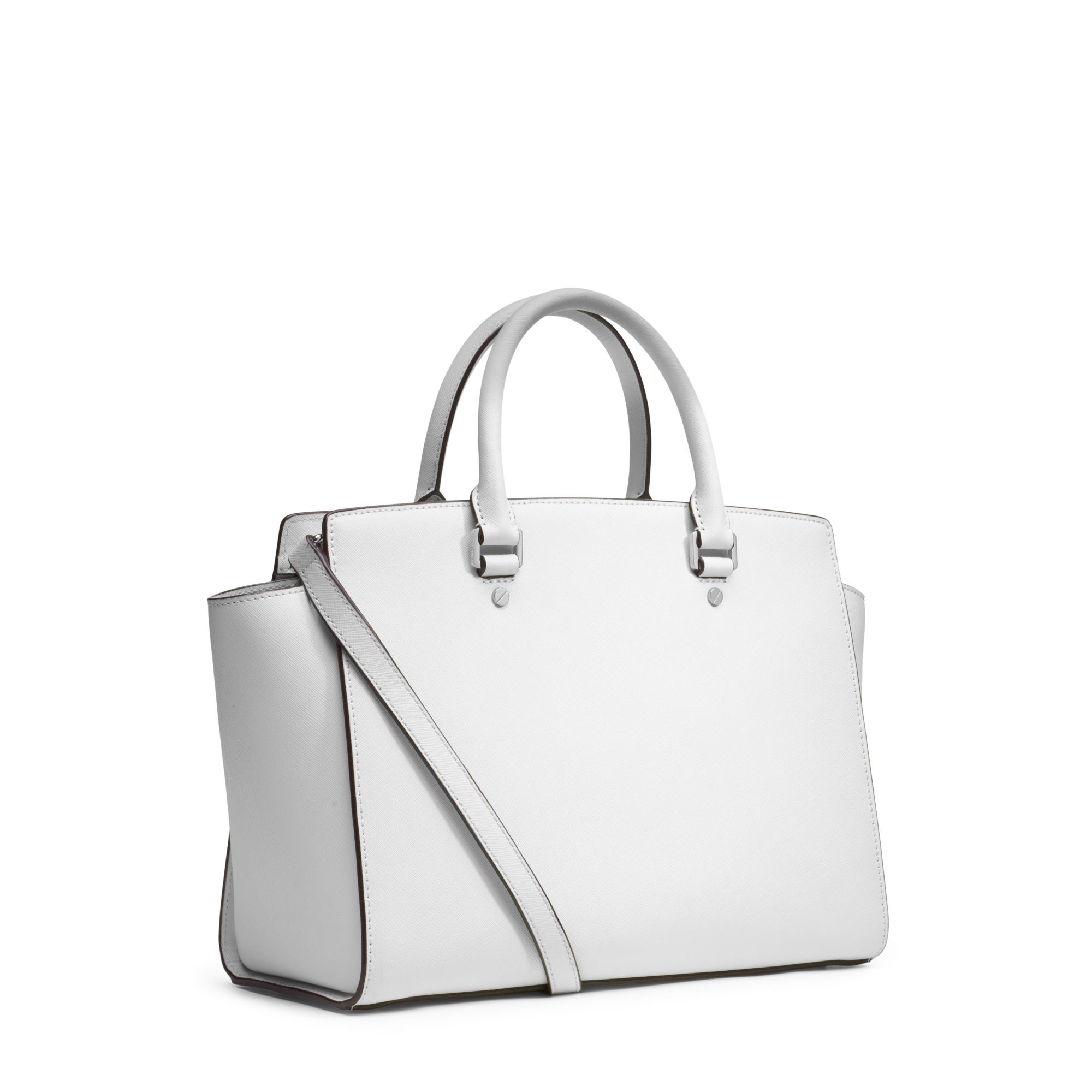 Lyst - Michael Kors Selma Large Saffiano Leather Satchel in White a68f785d31