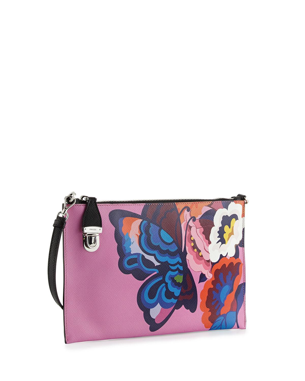 prada messenger bag black - Prada Butterfly-print Saffiano Clutch Bag in Multicolor (MULTI ...