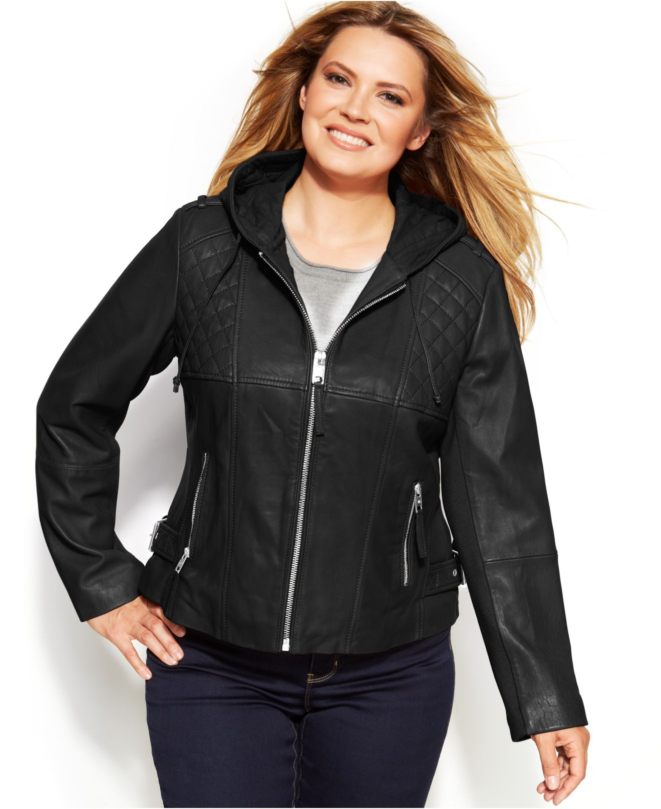 6a5998e35e6 Michael Kors Michael Plus Size Knit-Inset Hooded Leather Jacket in ...
