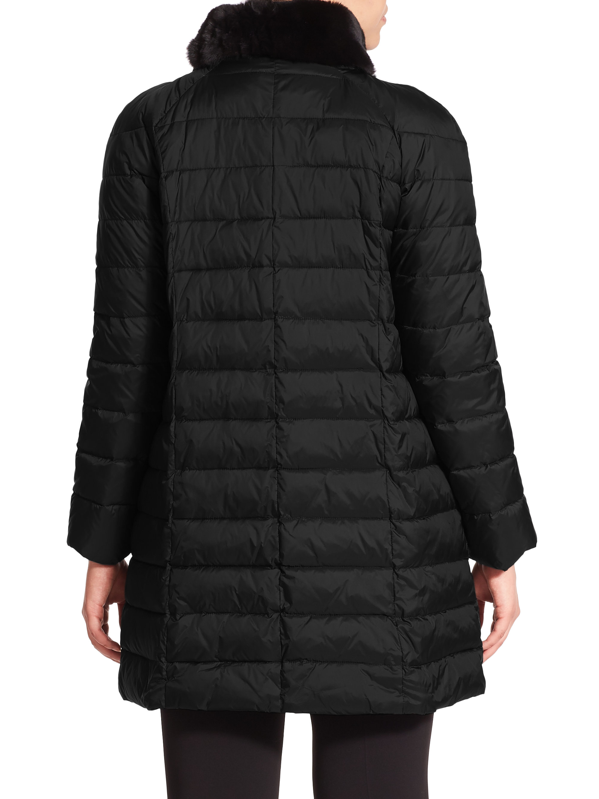 marina rinaldi pepita furtrimmed puffer coat in black lyst