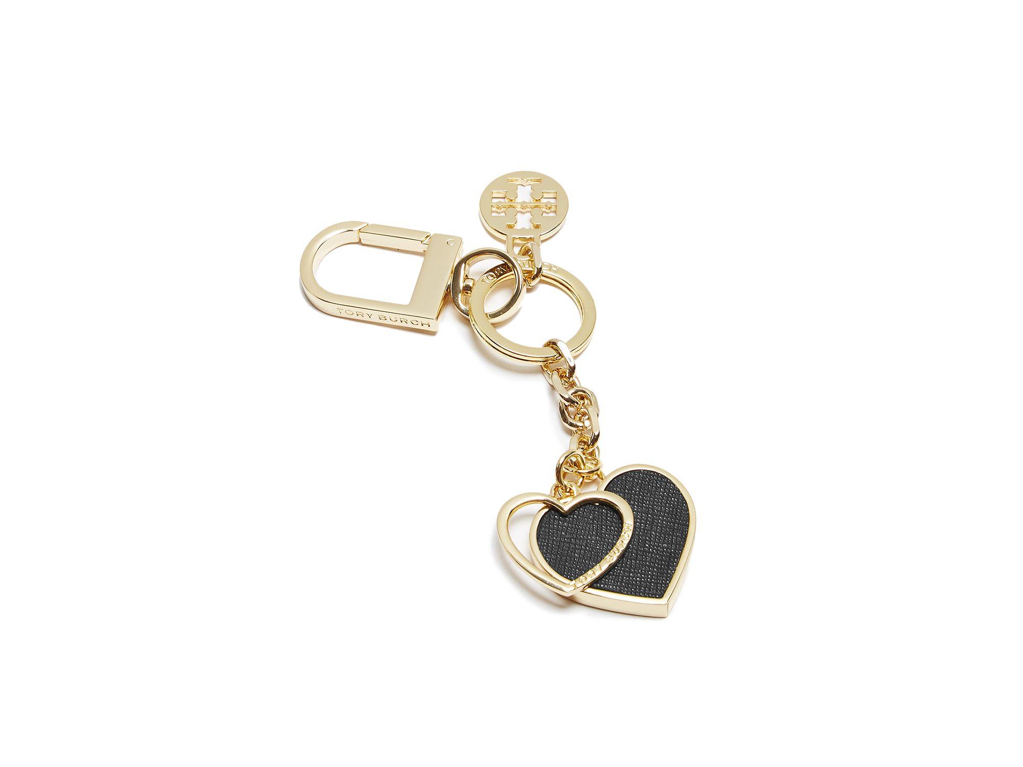 14918d8d7b40 Lyst - Tory Burch Logo Heart Key Fob in Black