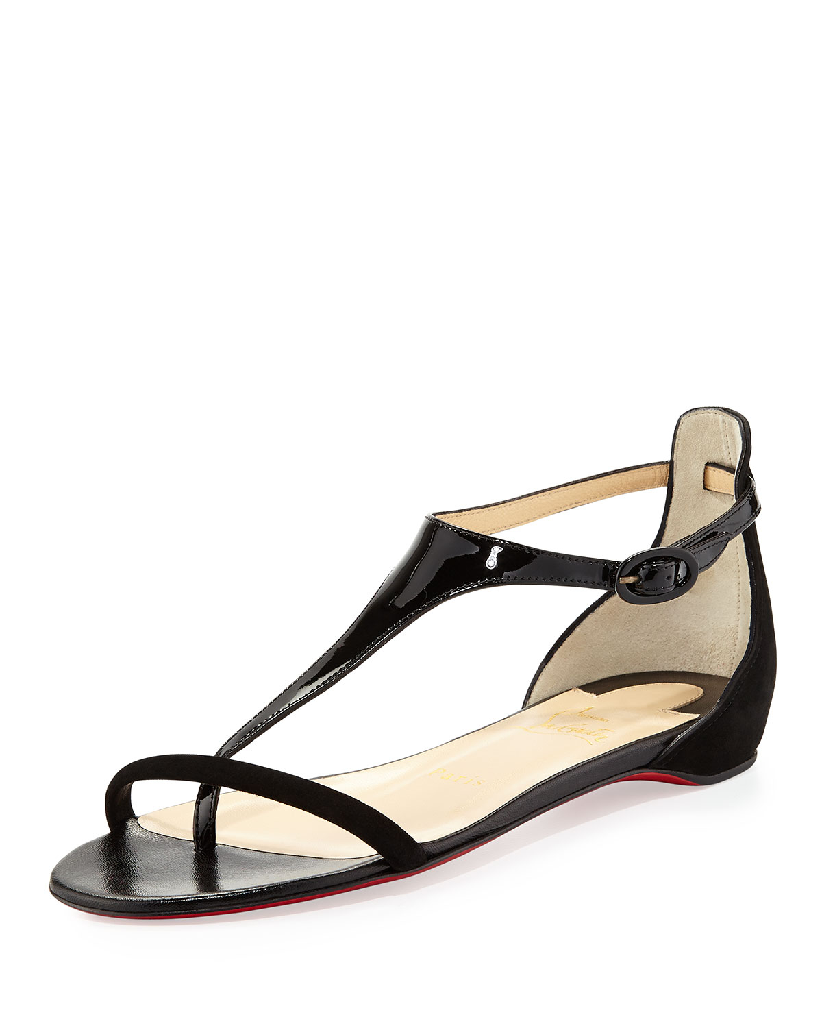 Lyst - Christian Louboutin Athena Patent Suede Flat Sandal Black in ...