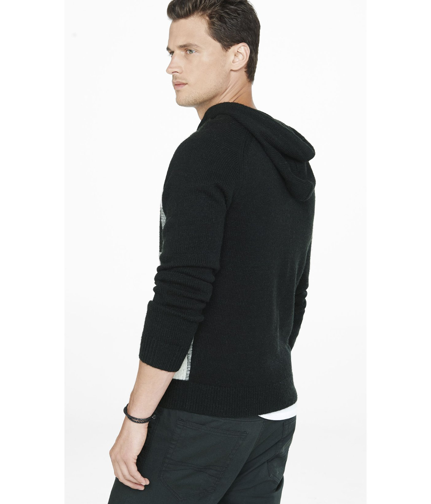 Express Large Check Print Hooded Sweater in Black for Men | Lyst