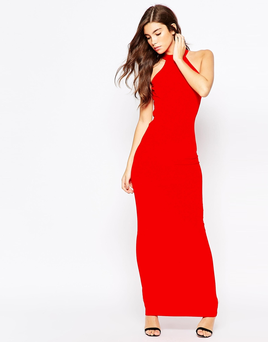 fa9eeccd2df ASOS Petite 90s High Neck Maxi Dress With Low Back in Red - Lyst