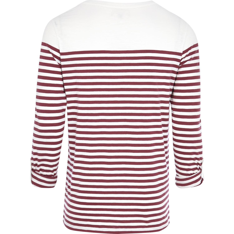 River Island Dark Red Breton Stripe Long Sleeve T Shirt In