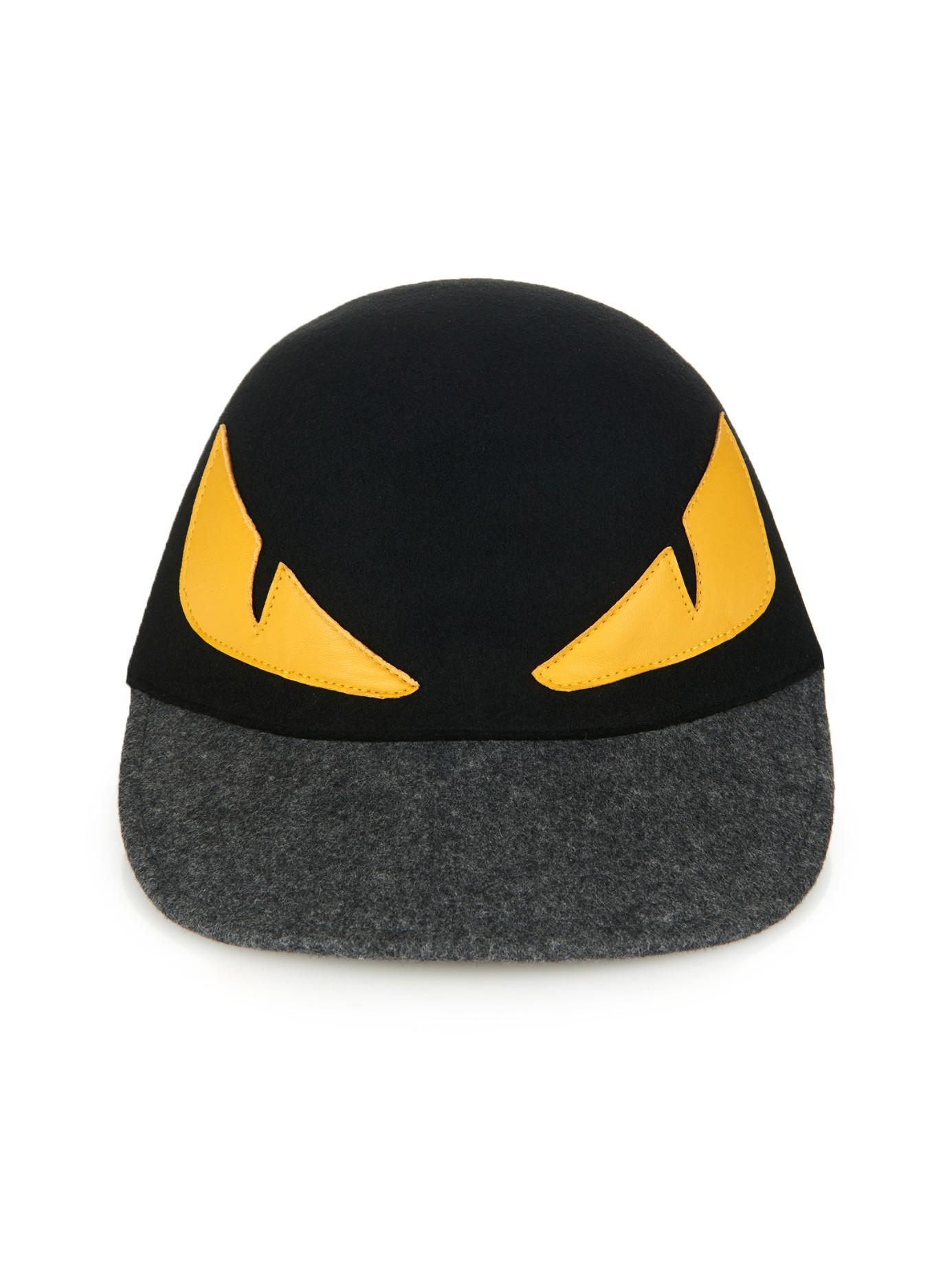 0d1c79b68a8 Lyst - Fendi Monster Eyes Wool-Felt Cap in Black for Men