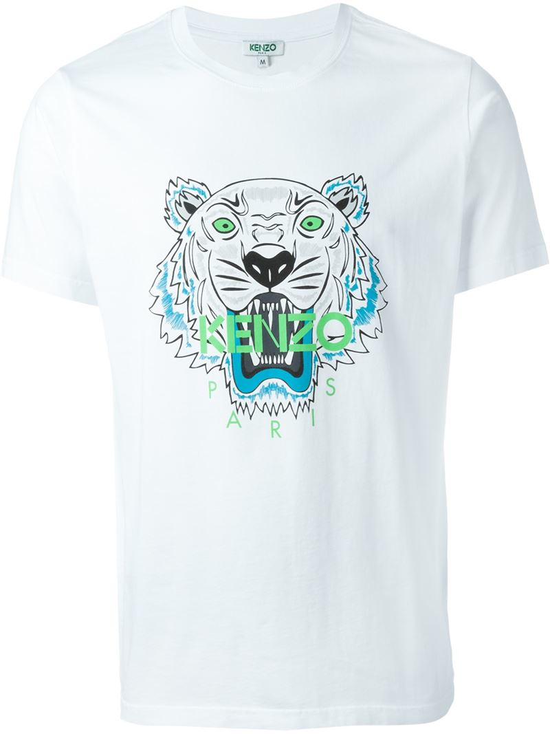 520aeffb KENZO Tiger Cotton T-Shirt in White for Men - Lyst