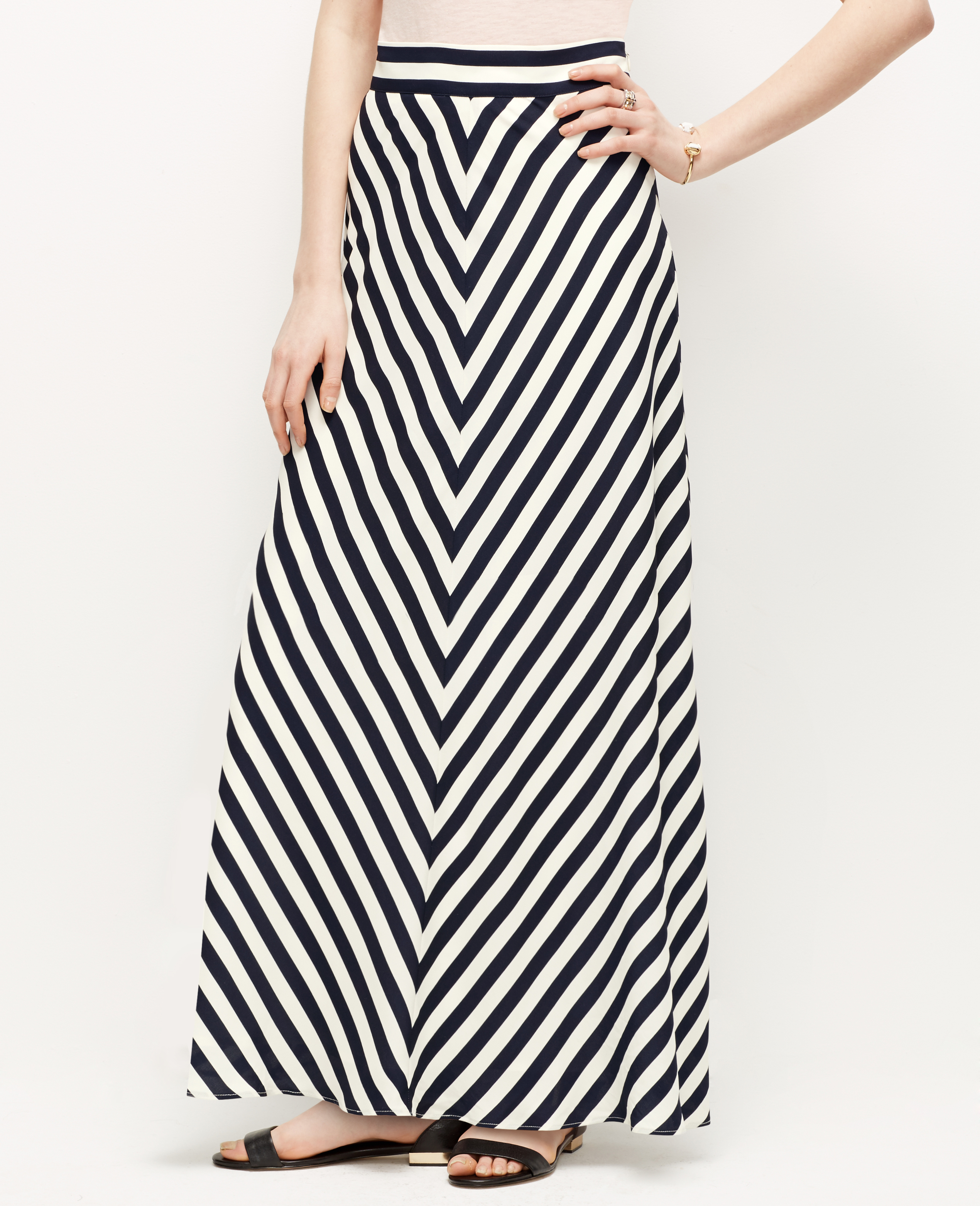 mitered stripe maxi skirt in blue lyst